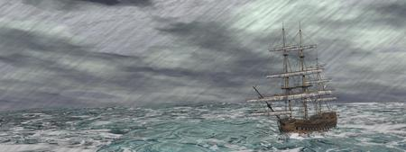 Old ship lost in the middle of a raining storm on ocean photo