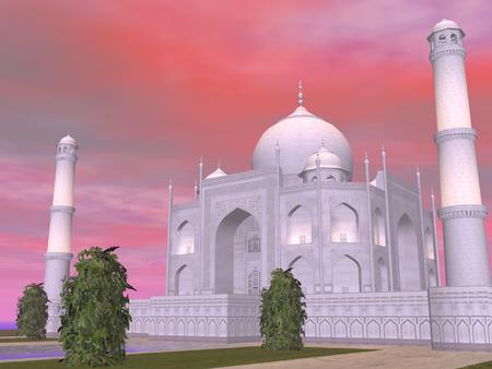 mausoleum: Close up of famous Taj Mahal mausoleum by sunset, Agra, India