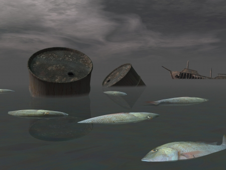 Dead fishes and oil tank in polluted ocean near tanker wreck by dark night