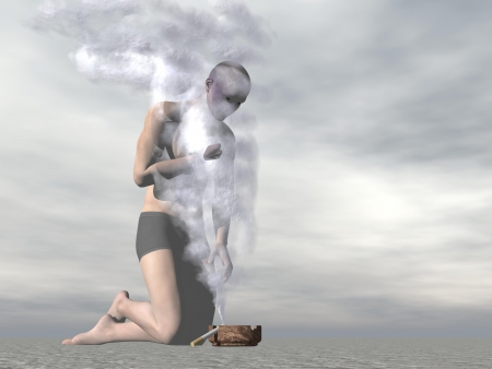 stifle: One male on knees suffocating with cigarette smoke in grey background Stock Photo