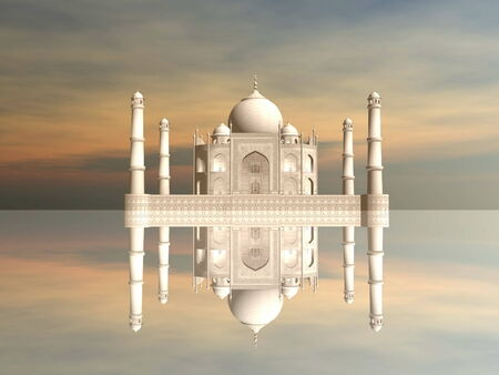 agra: Famous Taj Mahal mausoleum and its mirror reflection by sunset, Agra, India