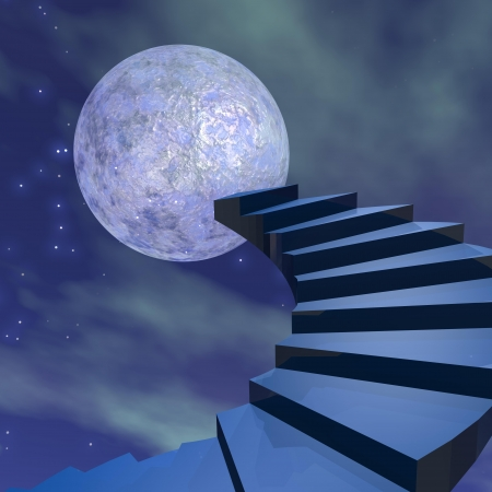 Stairs leading to the moon in dark universe photo