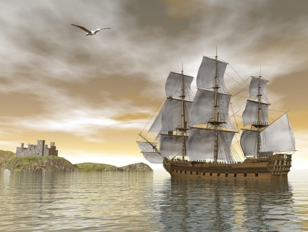 Beautiful detailed old merchant ship going back to castle and seagull flying around by cloudy sunset