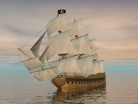 galleon: Pirate ship holding black Jolly Roger flag and floating on the ocean by cloudy sunset Stock Photo