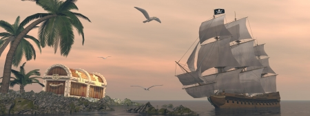 ship sky: Pirate ship holding black Jolly Roger flag floating on the ocean toward and island showing treasure box by cloudy sunset with seagulls flying