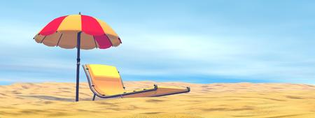 Colorful umbrella next to long chair at the beach by beautiful hot day photo