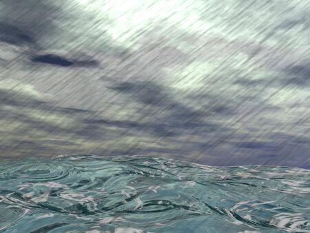 Raining storm and big grey clouds upon wavy ocean photo