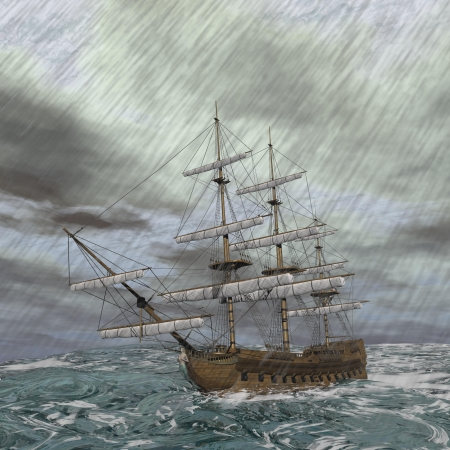 stormy clouds: Old ship lost in the middle of a raining storm on ocean