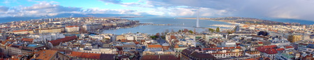 Panorama of Geneva city by beautiful day from cathedral famous Saint-Pierre, Switzerland HDR Imagens