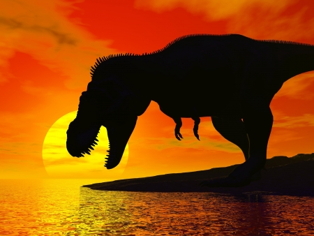 dinosaur teeth: Tyrannosaurus rex silhouette wanting to drink water by red sunset