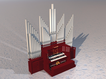 church interior: Close up of beautiful pipe organ instrument on grey ground Stock Photo