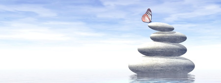 White stones in balance upon water and next to beautiful butterfly by foggy day