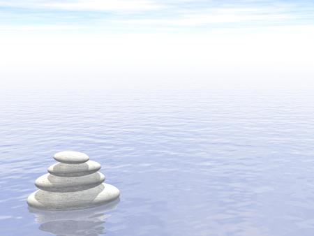 spa still life: White stones in balance upon water by foggy day