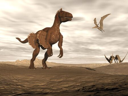enormously: Beautiful velociraptor dinosaur in desertic landscape with two pteranodon bird by cloudy sunset Stock Photo