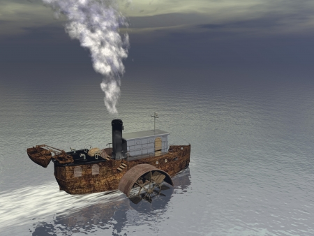 producing: Small steamer boat floating on the water and producing smoke Stock Photo