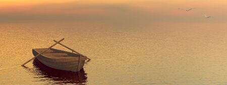 Small wood boat on the water by sunset photo