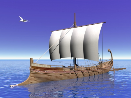 trireme: Close up of greek boat on the ocean with seagull flying around in blue background Stock Photo