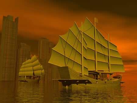 cantonese: Two junk ships on the water next to chinese city by red night Stock Photo