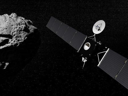 小惑星の横にある宇宙のロゼッタ プローブ 写真素材