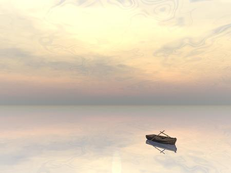 barque: Small wood boat alone on the water by sunset