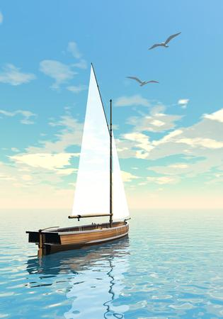 next day: One sailing boat floating on the water next to seagull by cloudy day Stock Photo