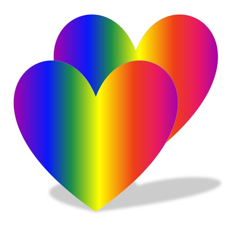homosexuality: Two colorful hearts and their shadow in white background Stock Photo