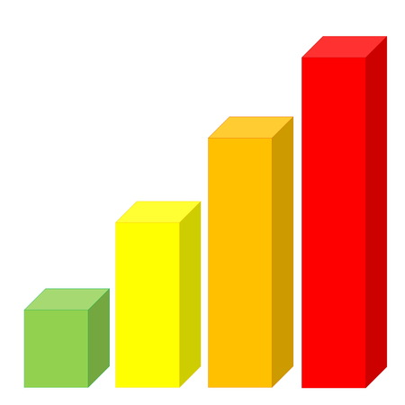 Statistic graph with colorful increasing bars in white background photo