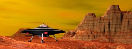 landed: UFO with lights landed in desert landscape by sunset