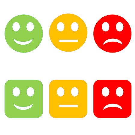 3 つのサークルと白い背景で正方形に悲しい幸せなスマイリー