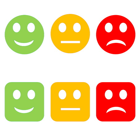 green face: Three circle and square happy to sad smileys in white background