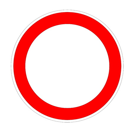 Blank speed limit red circle in white background