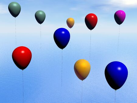 Many colorful balloons floating in the sky upon ocean by beautiful day photo