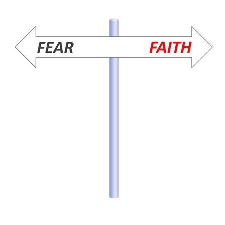 Two opposite arrows leading to faith or fear on a post in white background photo