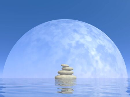 meditation stones: White stones upon water in front of big full moon by clear night Stock Photo