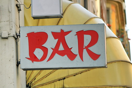 Red chinese style bar sign in the street photo