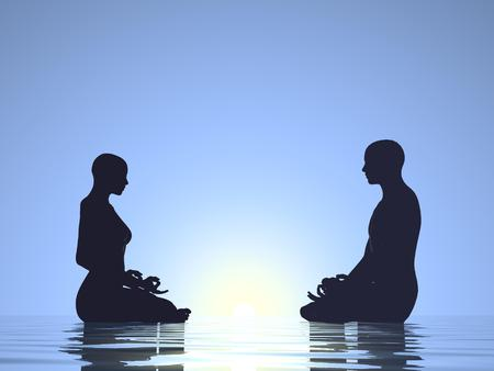 meditation man: Woman and man silhouettes meditating on quiet water next to sun in blue background Stock Photo