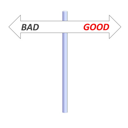 Two opposite arrows leading to good or bad on a post in white background photo