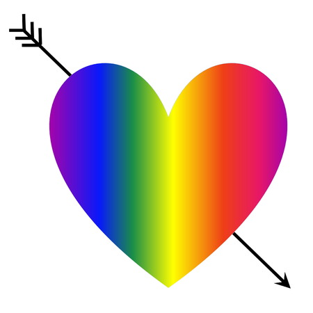 piercing: Heart shape with rainbow colors and an arrow piercing it in white background