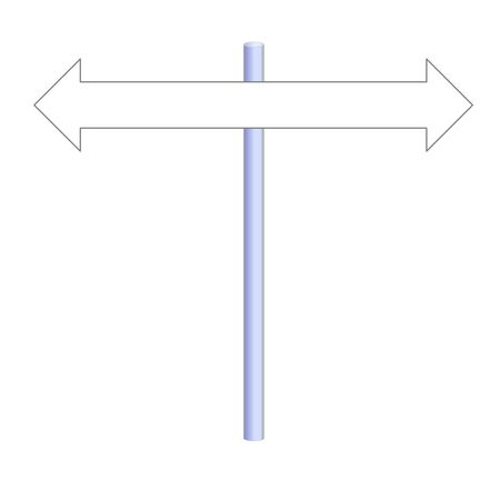 Two empty arrows on a post in white background photo