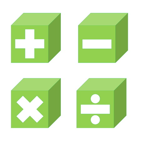 Math symbols of addition, subtraction, multiplication and division symbols into green cubes in white background Stock Photo
