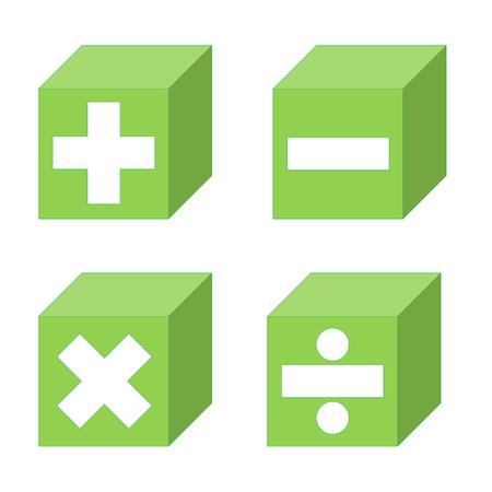 multiplicaci�n: S�mbolos Matem�ticos de suma, resta, multiplicaci�n y divisi�n s�mbolos en los cubos verdes en el fondo blanco Foto de archivo