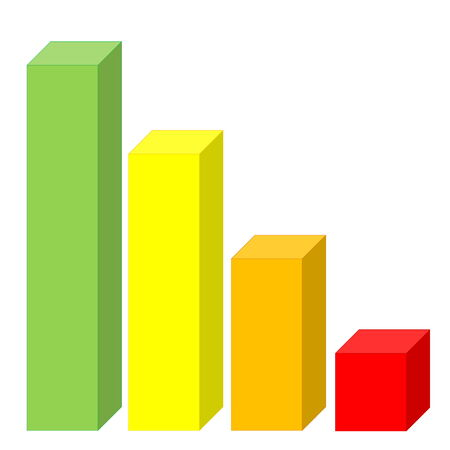 Statistic graph with colorful decreasing bars in white background