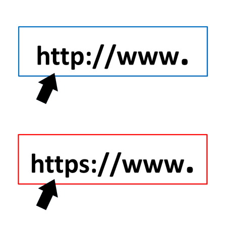 https: Black arrows pointing to http or https symbols in white background