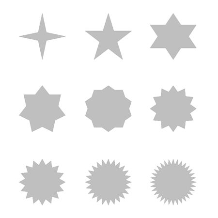Set of many different grey stars in white  photo