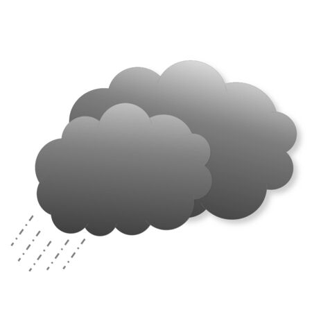 Two dark grey clouds with rain as weather icon in white  photo