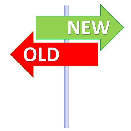 Signpost showing two different directions between new and old in white  photo