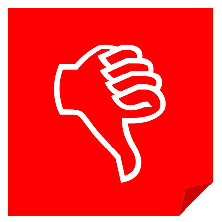 Red dislike vote icon in white  photo
