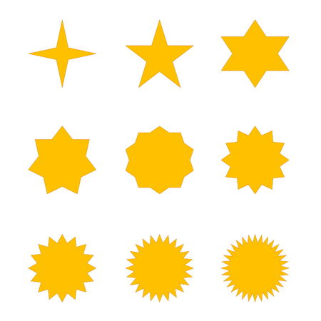 Set of many different golden stars in white  photo