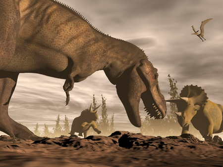 One tyrannosaurus roaring at two triceratops dinosaurs in landscape with trees by brown night