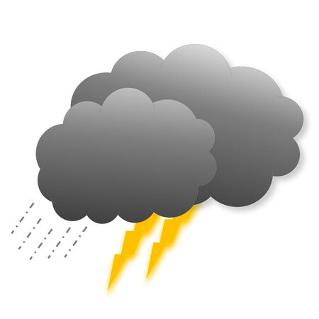 meteorological: Two dark grey clouds with rain and lightnings as weather icon isolated on white  Stock Photo